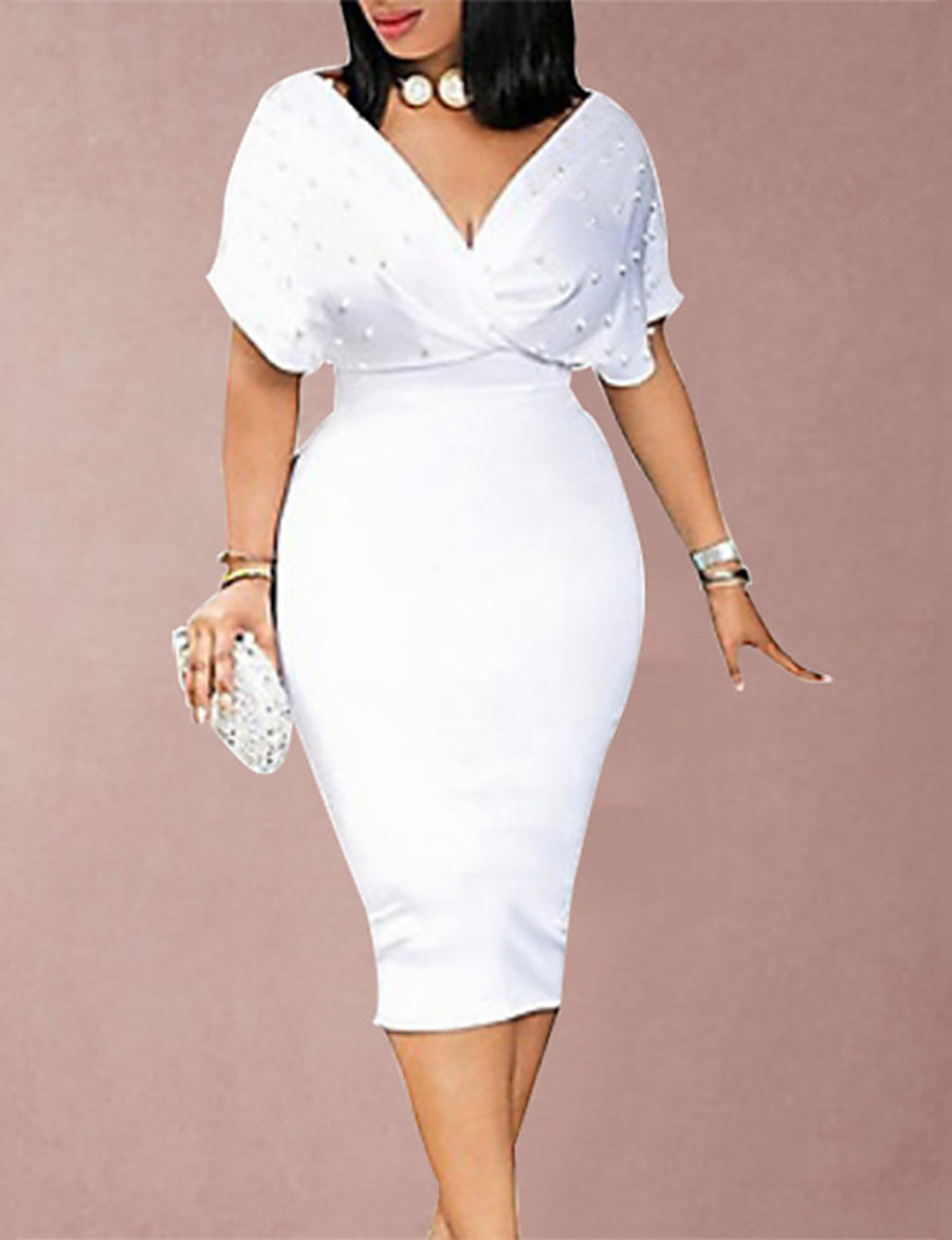 Women's Knee Length Dress Sheath Dress Blushing Pink Wine White Black Short Sleeve Beaded Solid Colored Deep V Fall Spring Hot Elegant Formal Slim S M L XL XXL 3XL / Party