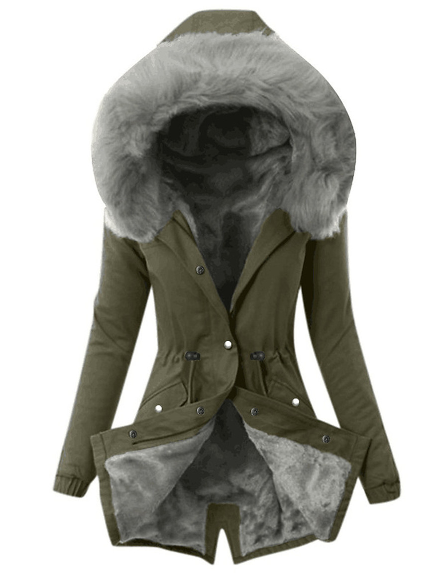 Women's Parka Fall Winter Spring Causal Outdoor clothing Daily Wear Long Coat Regular Fit Casual Jacket Long Sleeve Classic Solid Colored Blushing Pink Army Green Gray / Lined