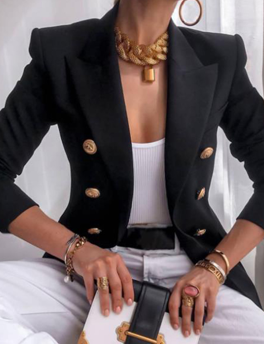 Women's Blazer Solid Color Vintage Style Casual Long Sleeve Coat Fall Winter Business Double Breasted Regular Jacket khaki Peaked Lapel Spring Work