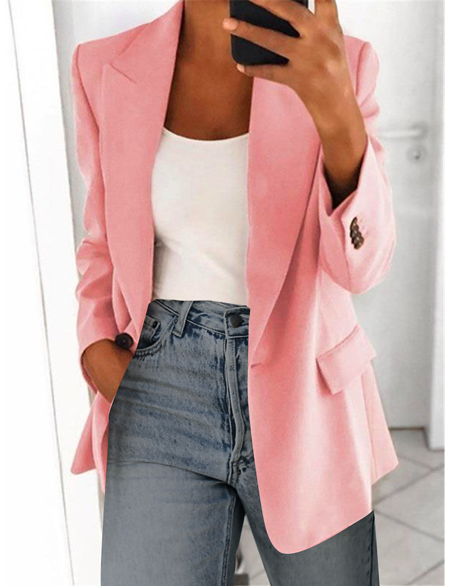 Women's Blazer Classic Style Solid Color Business Long Sleeve Coat Wedding Party Fall Spring Regular Jacket Pink / Oversized