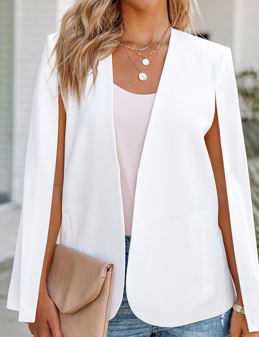Women's Blazer Fall Spring Casual Daily Regular Coat V Neck Open Front Warm Loose Casual Jacket Long Sleeve Quilted Solid Color White Black