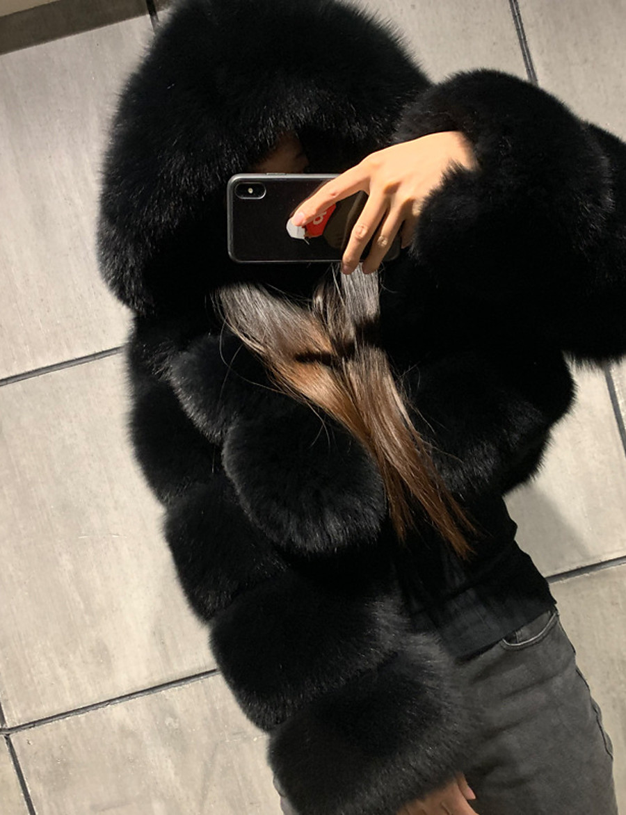 Women's Faux Fur Coat Fall Winter Spring Daily Outdoor clothing Date Short Coat Warm Regular Fit Chic & Modern Elegant & Luxurious Jacket Long Sleeve Fur Solid Colored Light gray Black Red