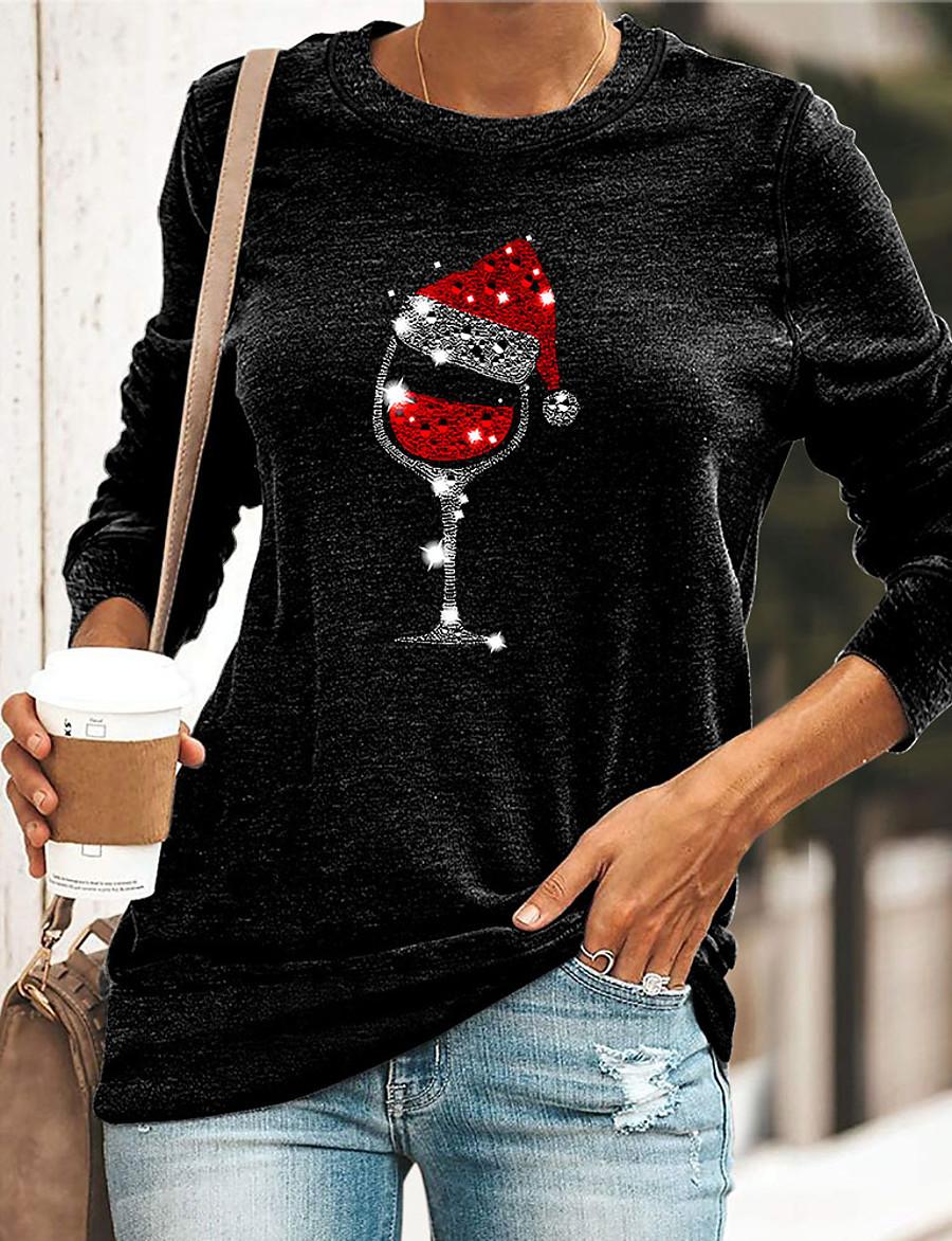 Women's T shirt Graphic Wine Glass Crew Neck Round Neck Print Basic Christmas Tops Loose Blue Yellow Green