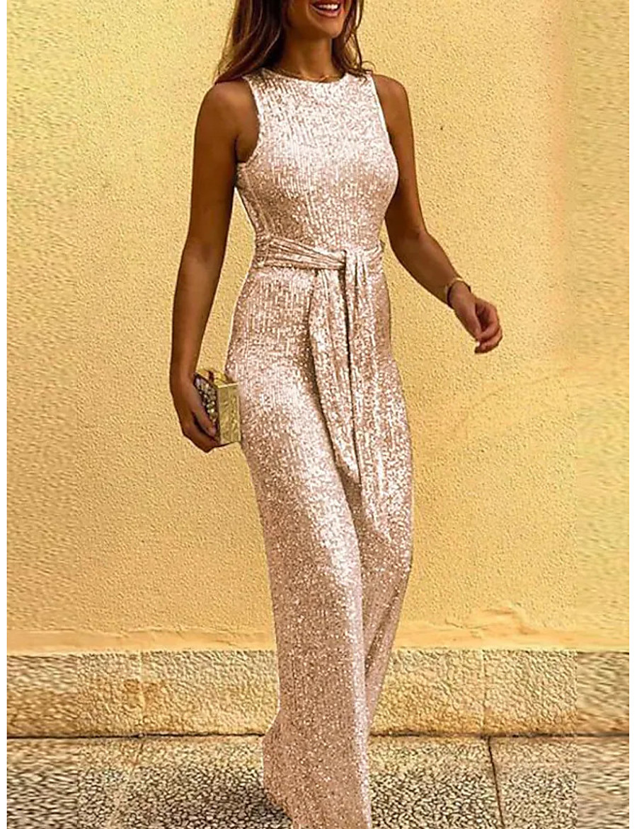 Women's Sexy Sophisticated Crew Neck Christmas Party Holiday 2021 Blue Blushing Pink Gold Jumpsuit Slim Backless Lace up Patchwork Solid Color