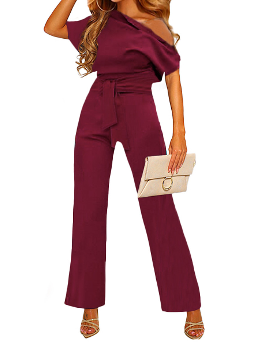 Women's Elegant Casual One Shoulder Casual Daily Work 2021 Blue Yellow Wine Jumpsuit Solid Color / Wide Leg