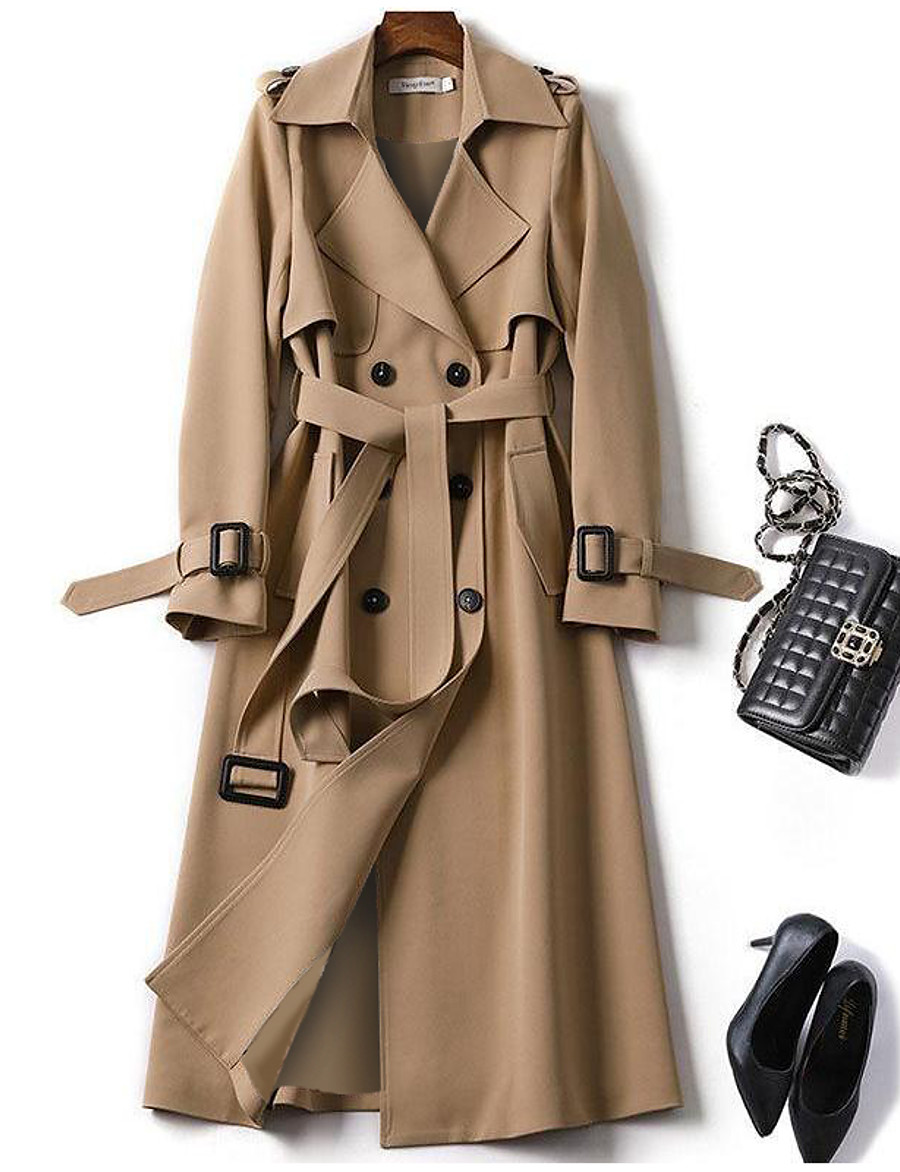 Women's Trench Coat Fall Winter Spring Daily Outdoor clothing Work Long Coat Warm Regular Fit Fashion Classic Jacket Long Sleeve Lace up Patchwork Plaid Solid Colored Blue Camel Black