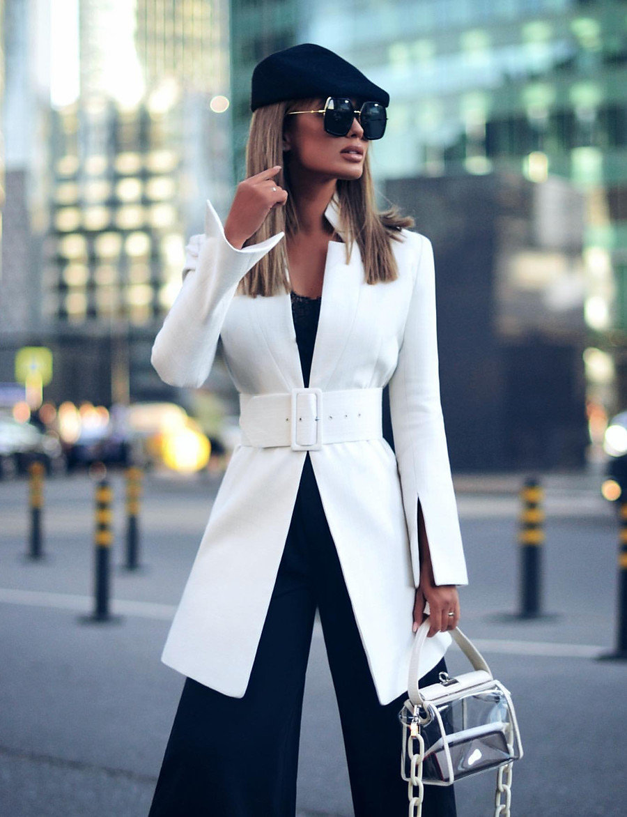 Women's Blazer Modern Style Solid Colored Elegant & Luxurious Long Sleeve Coat WorkWear Fall Spring Long Jacket Yellow / Date / Slim / Breathable / Stand Collar / Stand Collar