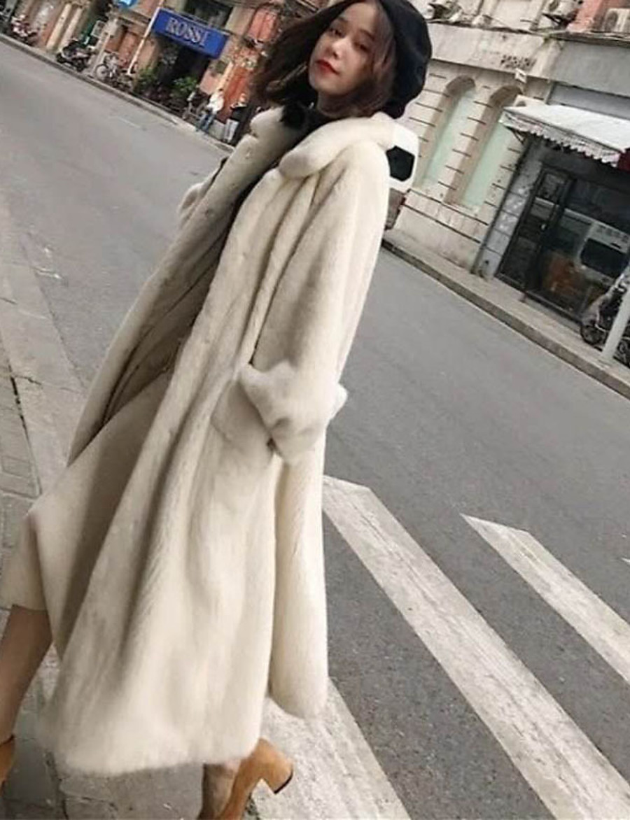 Women's Faux Fur Coat Fall Winter Wedding Casual Daily Long Coat Warm Regular Fit Elegant & Luxurious Jacket Long Sleeve Pocket Button-Down Solid Colored White Black