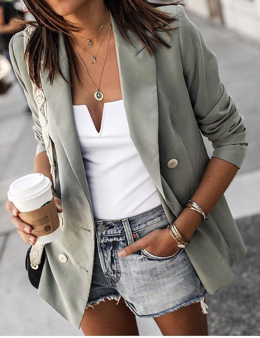 Women's Blazer Solid Color Classic Style Basic Long Sleeve Coat Fall Spring Street Short Jacket Wine Notch lapel collar
