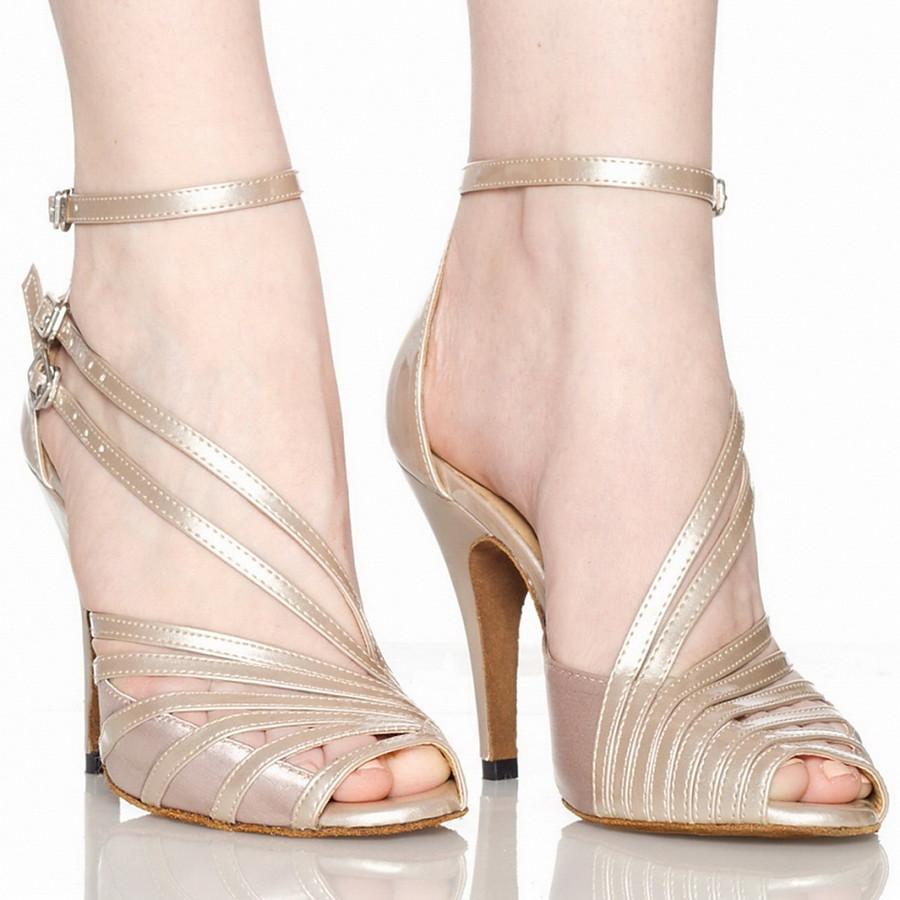 Women's Latin Shoes Sandal Customized Heel PU Leather Satin Buckle Grey / Nude / Black / Salsa Shoes / EU41