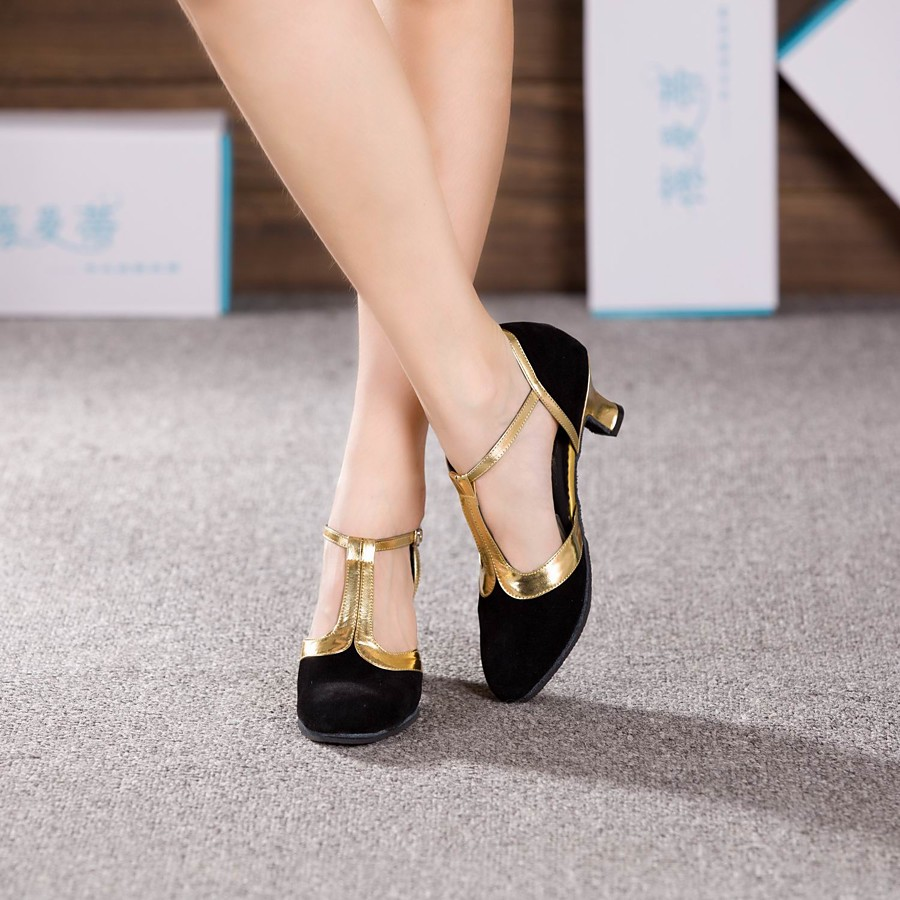 Femme Chaussures Modernes Salon Chaussures de Salsa Danse en ligne Talon Talon Cubain Noir et Or Marron Bleu royal Boucle / Daim