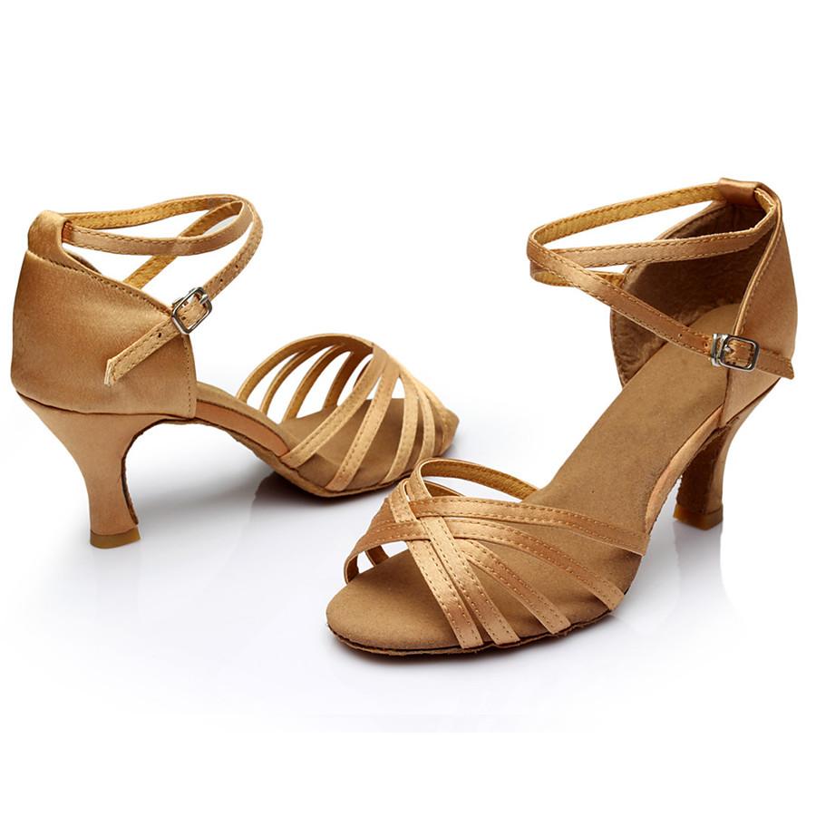 Chaussures Latines Salon Chaussures de Salsa Chaussures de Samba Femme Boucle Sandale Talon Personnalisé Léopard Nu Noir Boucle