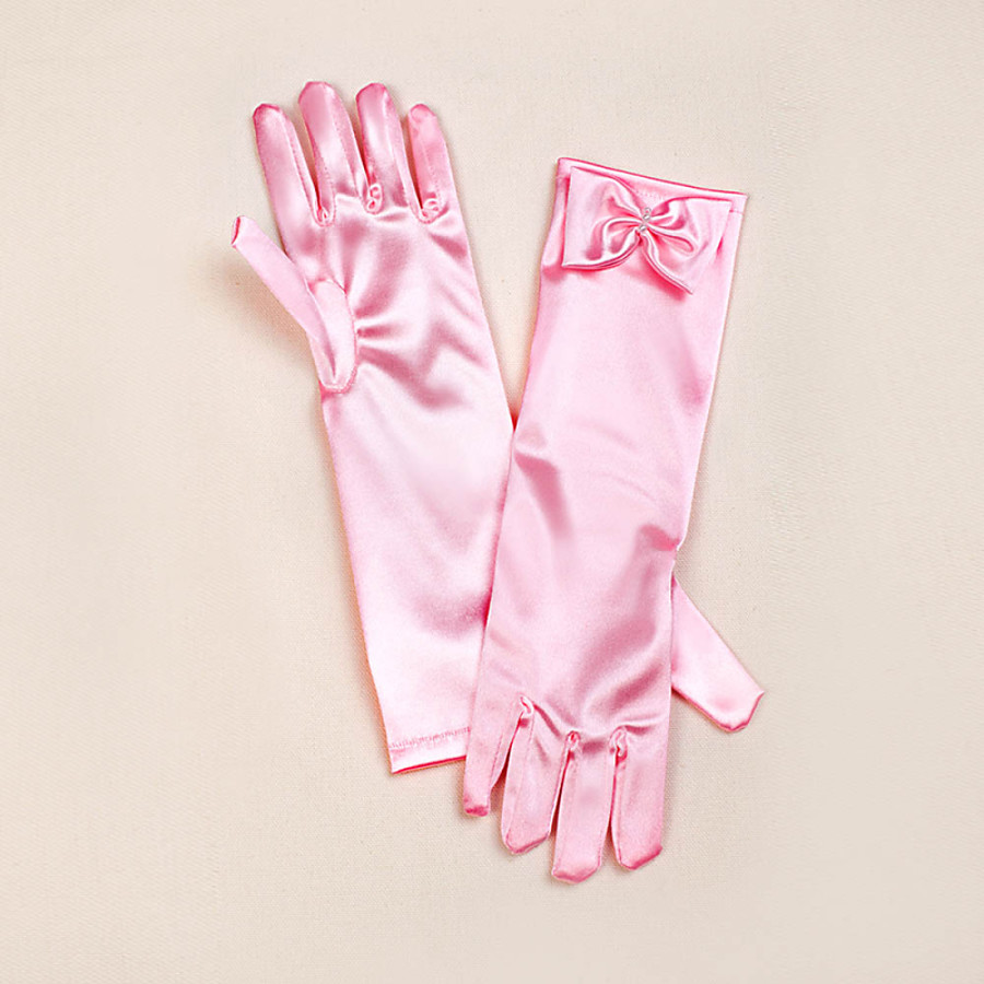 ADOR Satin Opera Length Glove Flower Girl Gloves With Bowknot
