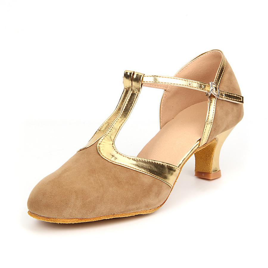 Femme Chaussures de danse Chaussures Modernes Salon Chaussures de Salsa Danse en ligne Talon Talon Cubain Noir et Or Marron Bleu royal Boucle / Daim / Cuir