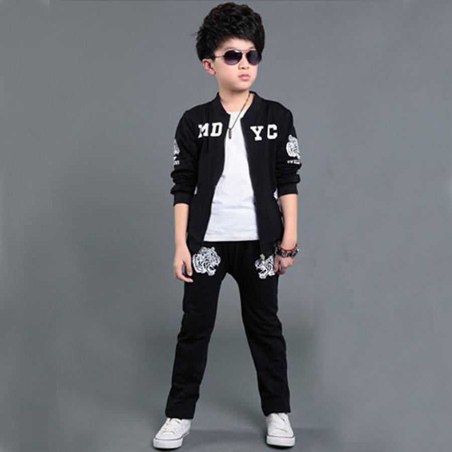 Kids Boys' Color Block Sports Black Letter Print Long Sleeve Regular Clothing Set Black