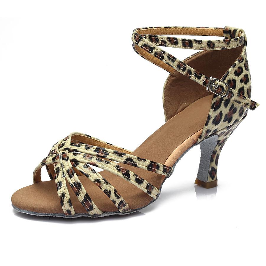 Women's Dance Shoes Latin Shoes / Ballroom Shoes / Salsa Shoes Sandal Heel Buckle Cuban Heel Customizable Leopard / Dark Brown / Black / Performance / Satin / EU40