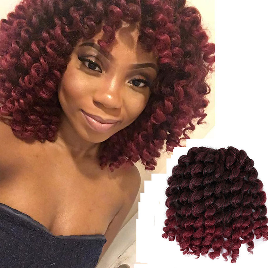 Curly Bouncy Curl Classic Pre-loop Crochet Braids Ombre Synthetic Hair Braids Braiding Hair 20 Roots / Pack