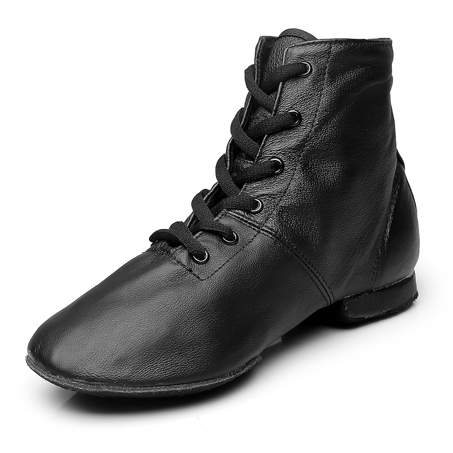 Women's Dance Shoes Leather / Canvas Jazz Shoes Boots Flat Heel Customizable Black / Performance / EU43