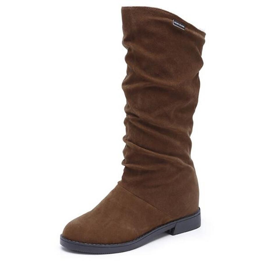 Women's Boots Low Heel Nubuck leather Mid-Calf Boots Snow Boots Winter Black / Brown / Wine / EU39