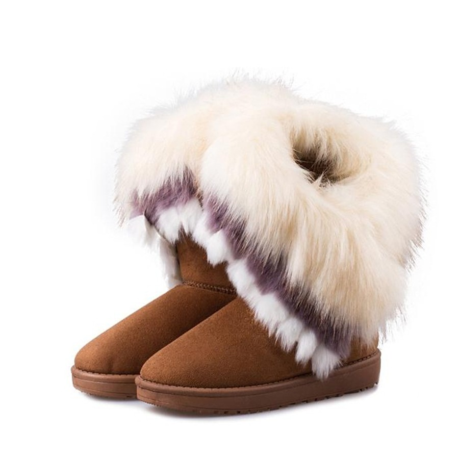 Women's Boots Snow Boots Flat Heel Round Toe Sweet Daily Pom-pom Solid Colored Fur Fleece Mid-Calf Boots Winter Black / Pink / Green / EU39