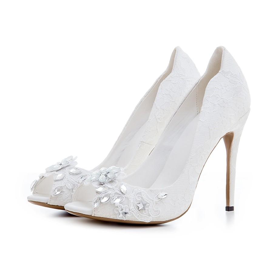 4f189fa618 ADOR® Women's Shoes Lace Spring / Summer Slingback Wedding Shoes Stiletto  Heel Peep