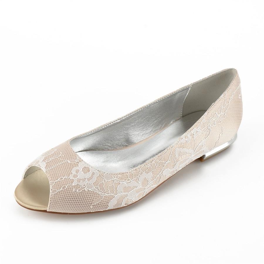 081366ec12 ADOR® Women s Shoes Lace Summer Comfort   Ballerina Wedding Shoes Flat Heel  Peep