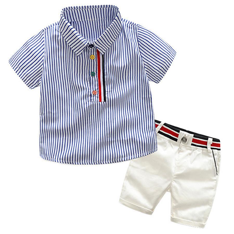 Toddler Boys' Active Basic Daily School Striped Color Block Patchwork Patchwork Print Short Sleeve Regular Regular Clothing Set Pink