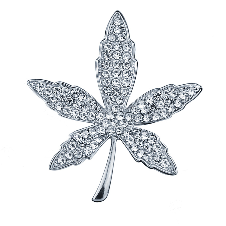 Men's Cubic Zirconia Brooches Classic Stylish Leaf Creative Luxury Fashion British Brooch Jewelry Gold Silver For Party Daily