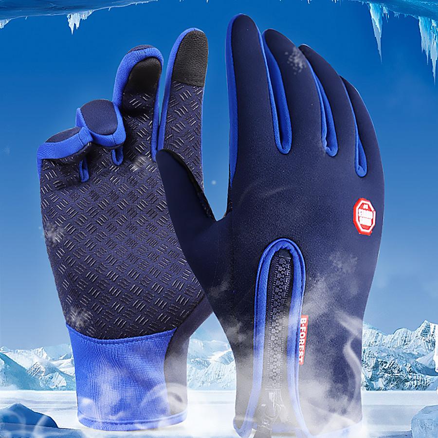 Winter Bike Gloves / Cycling Gloves Ski Gloves Mountain Bike MTB Thermal / Warm Touch Screen Waterproof Windproof Full Finger Gloves Touch Screen Gloves Sports Gloves Fleece Silicone Gel Black Sky