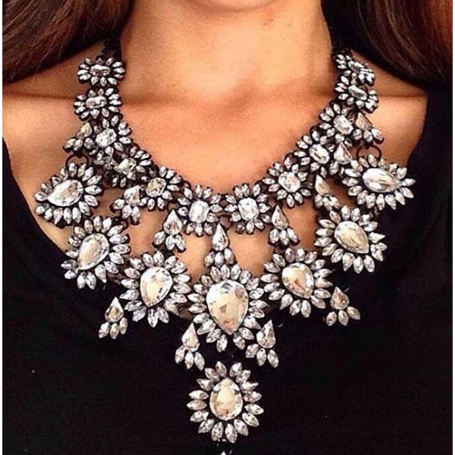 Women's Chocolate Synthetic Diamond Statement Necklace Pear Cut Bib Water Drop Necklace Ladies Fashion Euramerican Victorian Synthetic Gemstones Alloy Cuticolor White Red Gold Green Necklace Jewelry