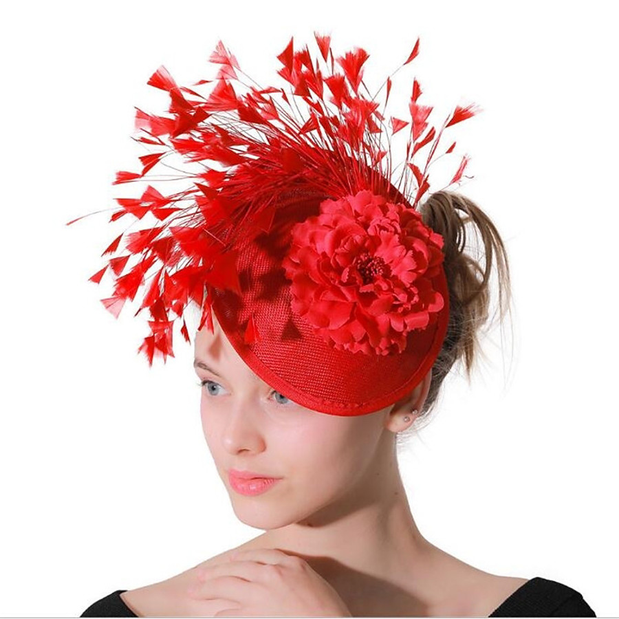 Women's Party Hat Party Wedding Prom Flower Floral Red Hat / Fascinators / Fabric / Vintage