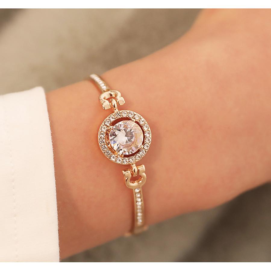 Bracelet Jonc Femme Classique Cercle Elégant Bracelet Bijoux Dorée Rose Dorée Argent pour Quotidien Rendez-vous Valentin