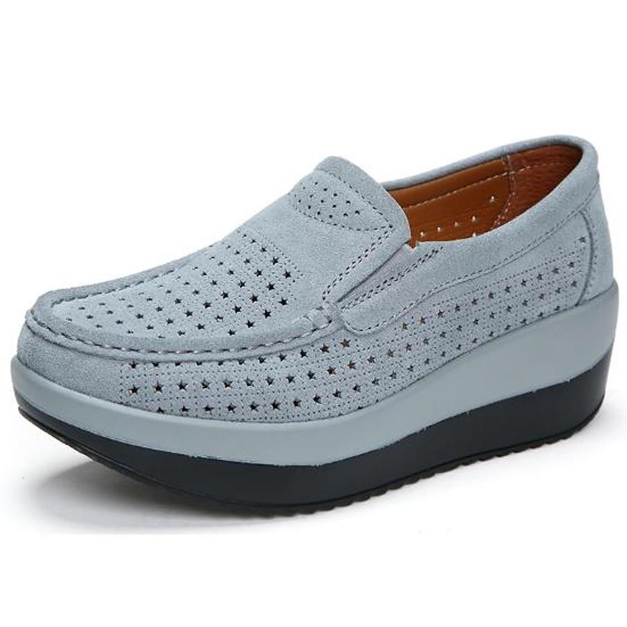 Women's Loafers & Slip-Ons Wedge Heel Round Toe Cowhide Comfort Summer / Fall Black / Red / Dark Blue / EU40