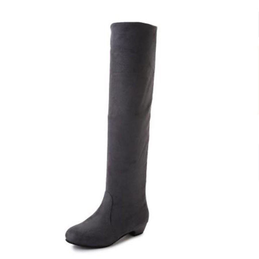 Women's Boots Knee High Boots Chunky Heel Nappa Leather Knee High Boots Fashion Boots / Slouch Boots Winter Black / Brown / Red / EU39