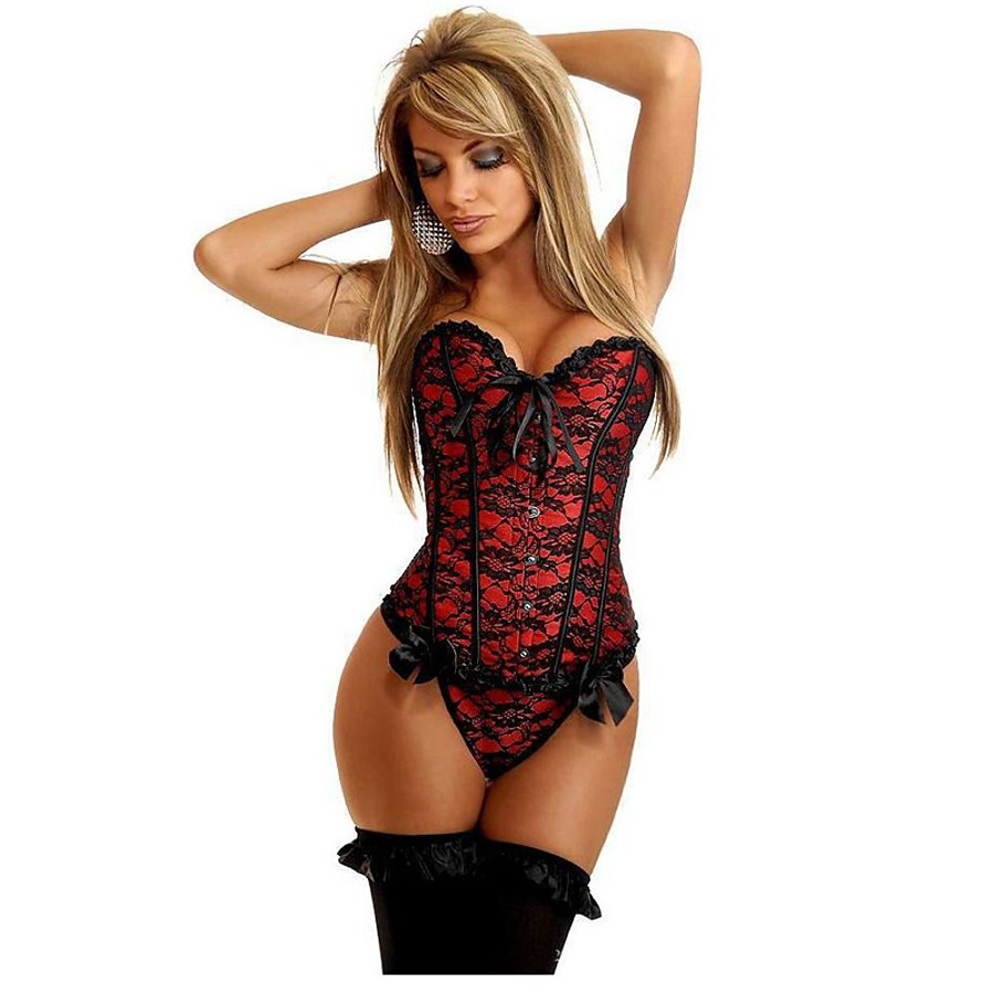 Women's Cotton Lace Up Overbust Corset - Stitching Lace / Embroidered, Bow / Basic Blue Red Blushing Pink S M L