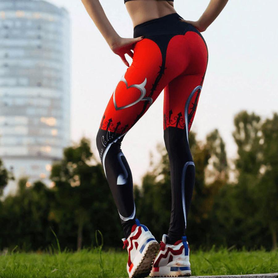 Women's High Waist Yoga Pants Leggings Butt Lift Quick Dry Heart Red Elastane Gym Workout Running Fitness Sports Activewear High Elasticity Skinny