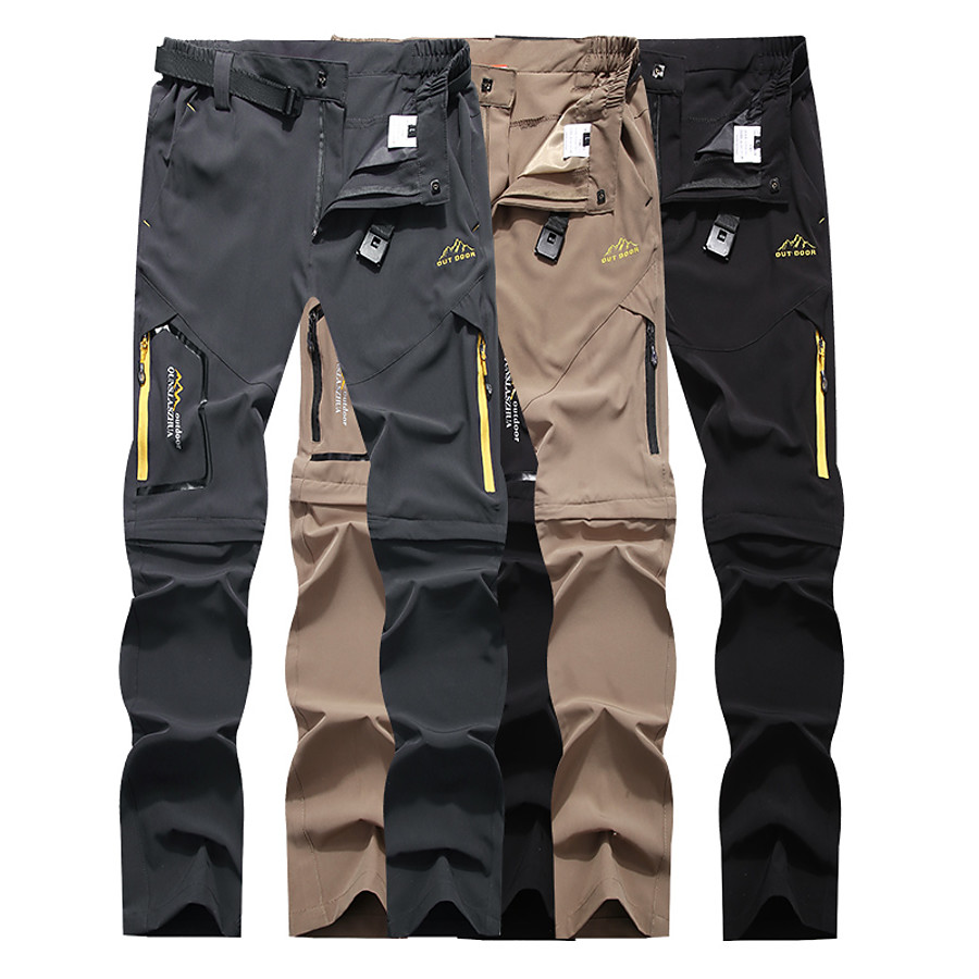 Men's Hiking Pants Trousers Convertible Pants / Zip Off Pants Solid Color Summer Outdoor Waterproof Breathable Quick Dry Stretchy Elastane Pants / Trousers Bottoms Dark Grey Black Khaki Hunting