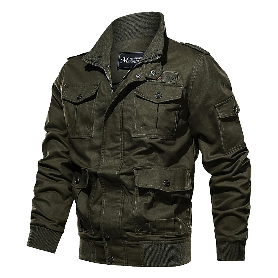 Men's Hiking Jacket Military Tactical Jacket Autumn / Fall Spring Outdoor Solid Color Thermal Warm Windproof Multi-Pockets Lightweight Jacket Top Cotton Hunting Fishing Climbing Army Green Khaki Black