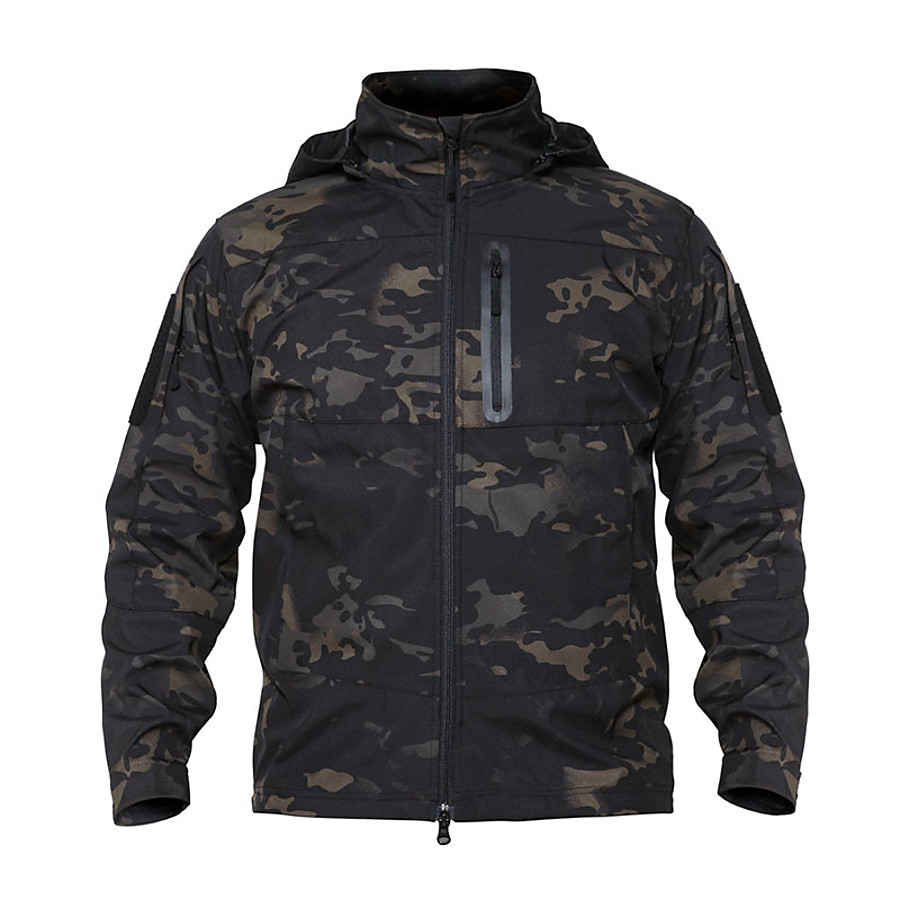 Men's Hiking Fleece Jacket Outdoor Thermal Warm Waterproof Windproof Wearproof Fall Winter Spring Camo Coat Top Terylene Camping / Hiking Hunting Fishing Camouflage