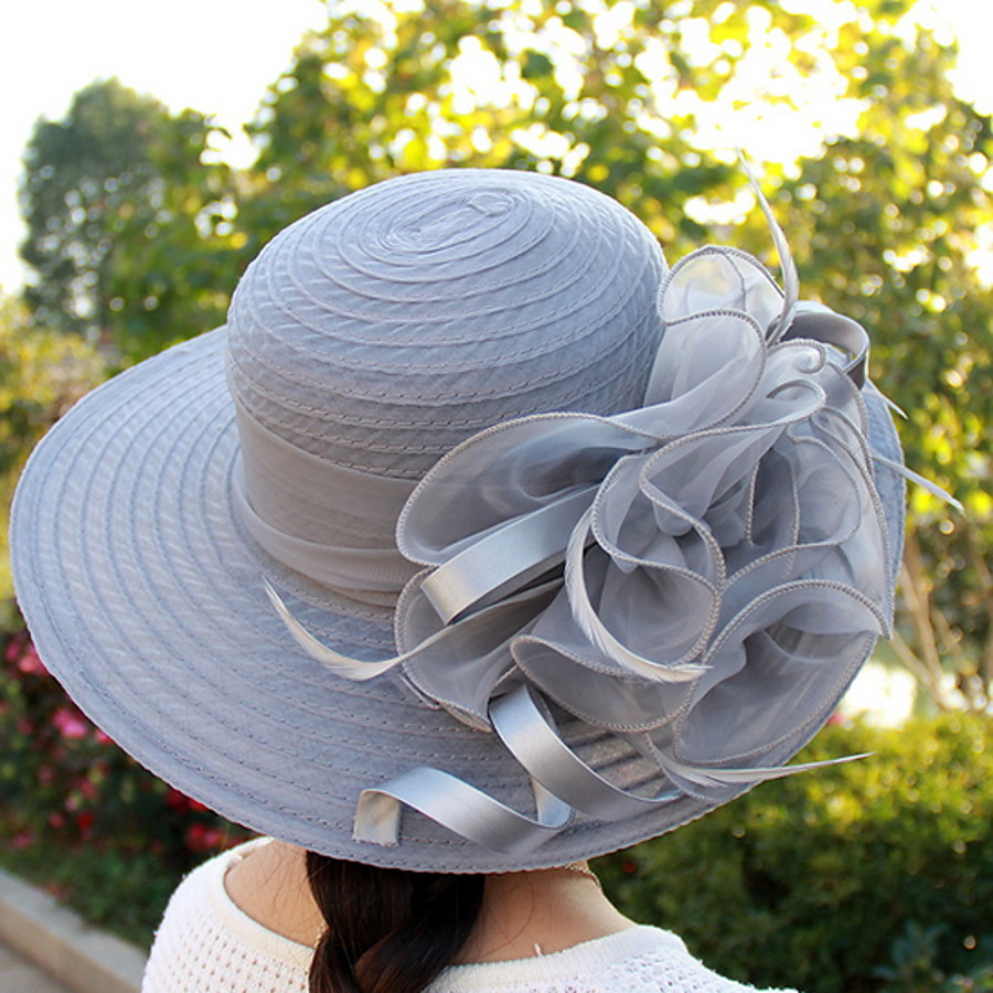 Women's Party Hat Flower Party Street Daily Black White Solid Colored Hat / Basic / Blue / Fall / Winter / Spring