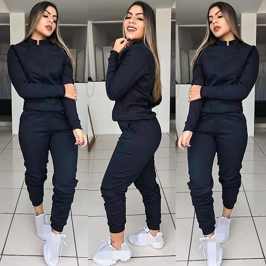 Women's 2 Piece Full Zip Street Casual Tracksuit Sweatsuit Jogging Suit Long Sleeve Winter Breathable Soft Fitness Running Jogging Sportswear Solid Colored Jacket Joggers Gray Black Dark Blue