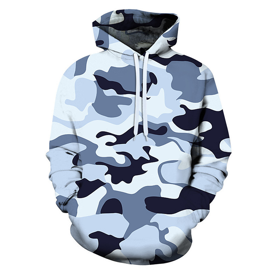 Men's Hoodie Outdoor Warm Soft Outdoor Casual Fall Winter Spring Camo Top Polyester Long Sleeve Camping / Hiking Hunting Fishing Blue