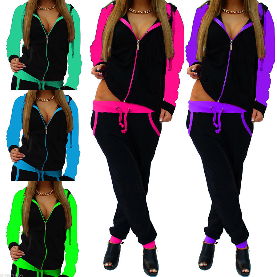 Women's 2 Piece Full Zip Tracksuit Sweatsuit Jogging Suit Street Casual Long Sleeve Moisture Wicking Quick Dry Breathable Running Active Training Jogging Sportswear Green / Black fluorescent green