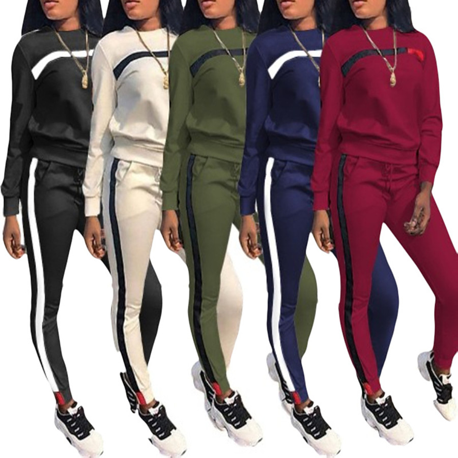 Women's 2 Piece Patchwork Street Casual Tracksuit Sweatsuit Jogging Suit Long Sleeve Winter Lightweight Breathable Soft Fitness Gym Workout Running Jogging Exercise Sportswear Color Block Sweatshirt