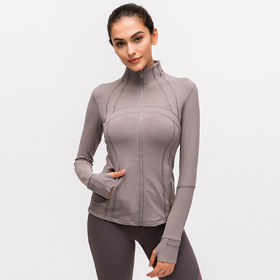 Women's Full Zip Track Jacket Running Jacket Long Sleeve Elastane Breathable Moisture Wicking Soft Fitness Active Training Jogging Sportswear Solid Colored Athleisure Wear Top Jacket Watermelon Red