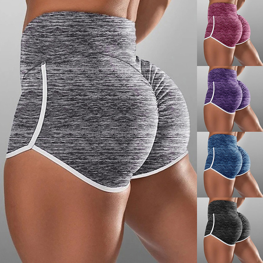 Women's High Waist Yoga Shorts Ruched Butt Lifting Shorts Butt Lift Breathable Black Purple Red Cotton Yoga Running Fitness Sports Activewear High Elasticity