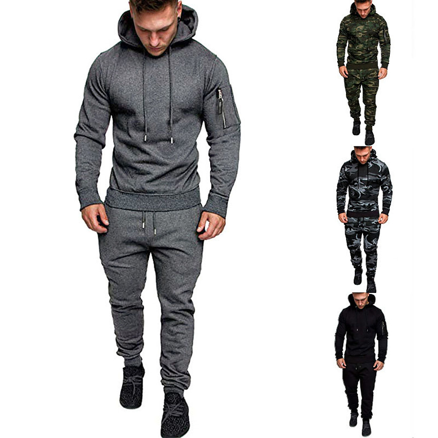 Men's 2 Piece Tracksuit Sweatsuit Street Casual Long Sleeve Cotton Thermal Warm Breathable Moisture Wicking Fitness Gym Workout Running Active Training Jogging Sportswear Outfit Set Clothing Suit