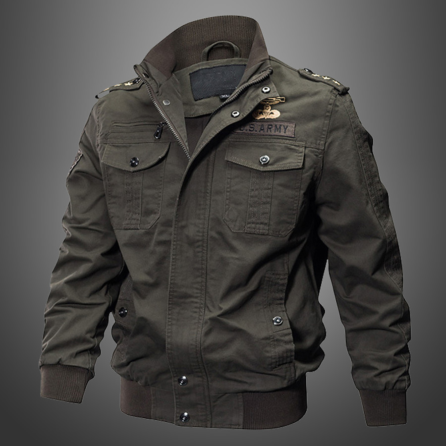 Men's Hiking Lightweight Bomber Jacket Military Tactical Jacket Outdoor Cotton Jacket Outerwear Multi Pockets Zip Front Stand Collar Windbreaker Coat Thermal Warm Windproof Breathable Black Army Khaki