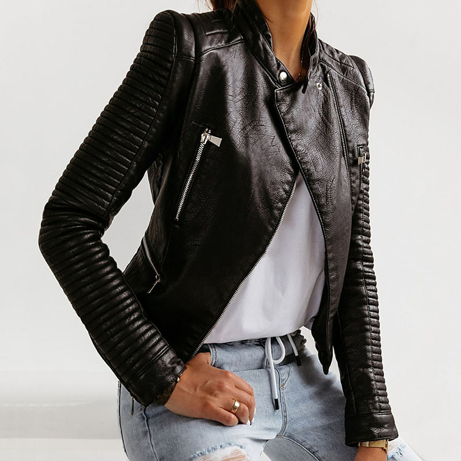 Women's Stand Collar Faux Leather Jacket Regular Solid Colored Work Black S M L XL