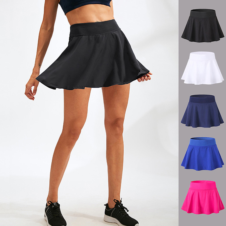 YUERLIAN Women's Athletic Athletic Skort Running Skirt Tennis Skirt Bottoms Spandex 2 in 1 Liner Fitness Gym Workout Performance Running Training Summer Quick Dry Breathable Soft Sport Solid Colored